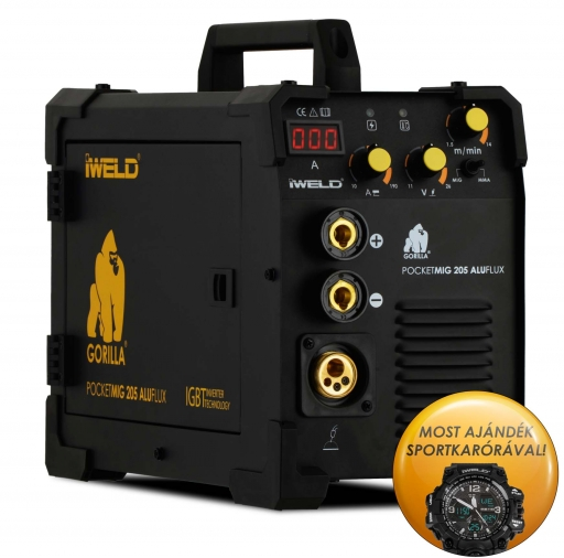 IWELD GORILLA POCKETMIG 205 ALUFLUX Hegesztő inverter BLACK CHRONO LIMITED EDITION